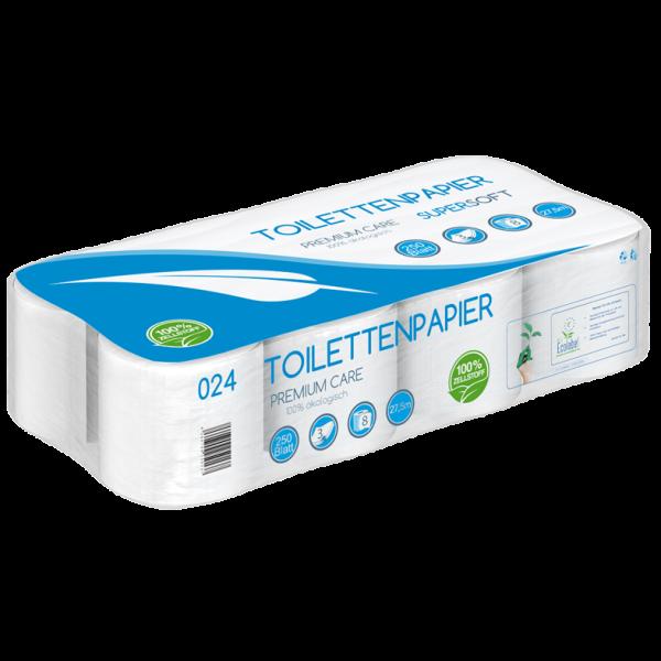 Toilettenpapier 3 lagig 100% Zellstoff SUPER SOFT 250 Blatt 8er - PALETTE