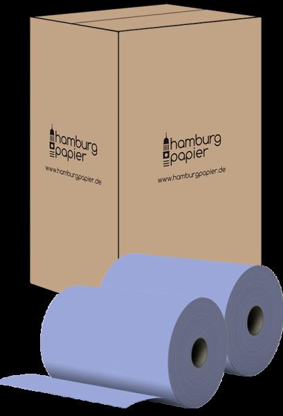 8 Papierrollen 2 lagig BLAU recycling 22x37cm 1000 Abrisse pro Rolle - Karton