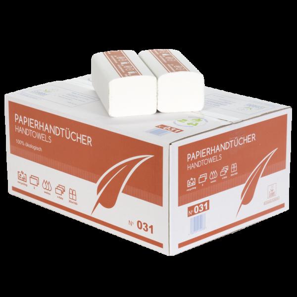 Papierhandtücher 2 lagig weiß recycling ZZ Faltung 25x21cm Karton