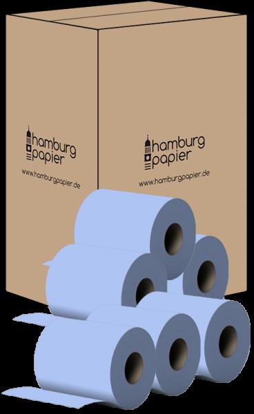 24 Handtuchrollen 2 lagig 100% Zellst. blau 143m 600 Abrisse Innenauszug / ohne Hülse Karton