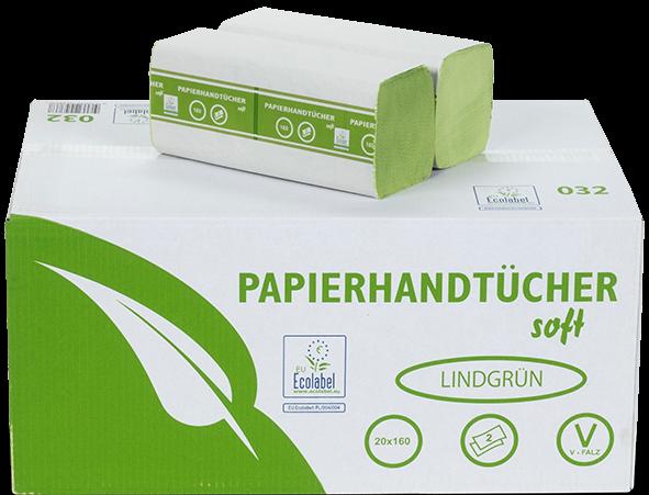 Papierhandtücher 2 lagig grün recycling ZZ Faltung 25x21cm MUSTER