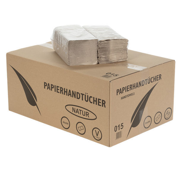 Papierhandtücher 1 lagig GRAU ECO ZZ Faltung 25x23cm 36 g/m² Karton