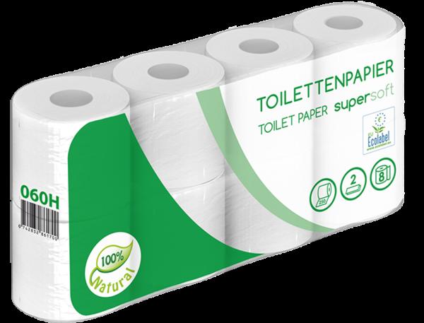 Toilettenpapier 2 lagig weiß recycl. 250 Blatt ECOLABEL 8er Palette