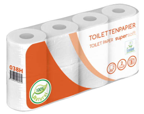 Toilettenpapier 2 lagig weiß recycling 8er 400 Blatt PALETTE