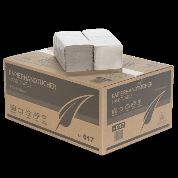 Papierhandtücher 1 lagig hellgrau PREMIUM ZZ Faltung 24x21cm Karton