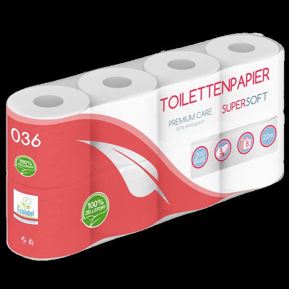Toilettenpapier 3 lagig 100% Zellstoff - 200 Blatt MUSTER