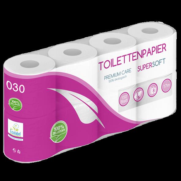 Toilettenpapier 3 lagig 100% Zellstoff 150 Blatt 8er PALETTE