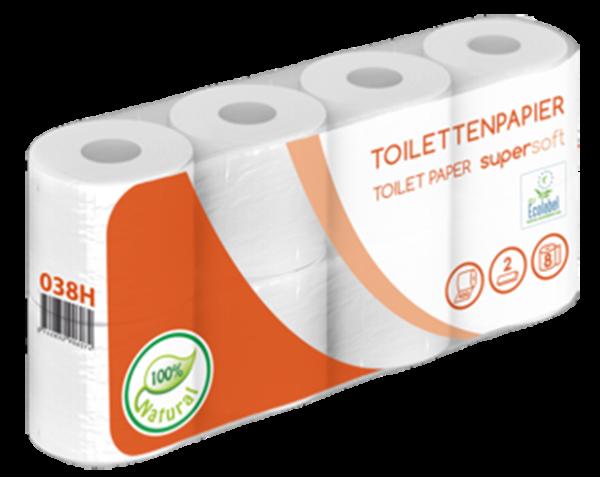Toilettenpapier 2 lagig weiß recycling 8er 400 Blatt Karton
