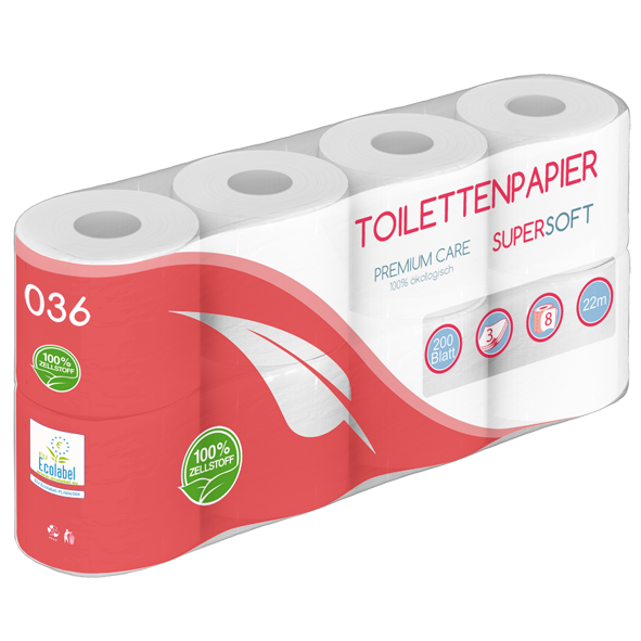 Toilettenpapier 3 lagig 100% Zellst. 200 Blatt 8er - 2112 Rollen / PALETTE